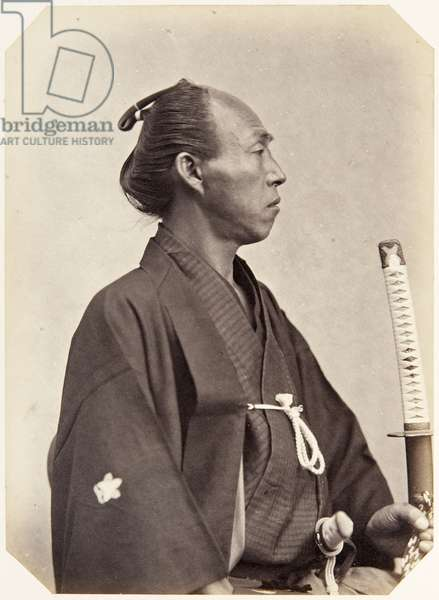 Portrait of a thirty–eight–year–old Japanese man named Koizumi Yasuemon, a samurai and member of the 1864 Ikeda mission to France, employed as a personal attendant of the chief envoy, 1864 (albumen print)
