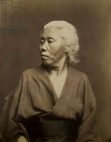 Portrait of an old woman looking over her right shoulder, c.1875 (hand-coloured albumen print)