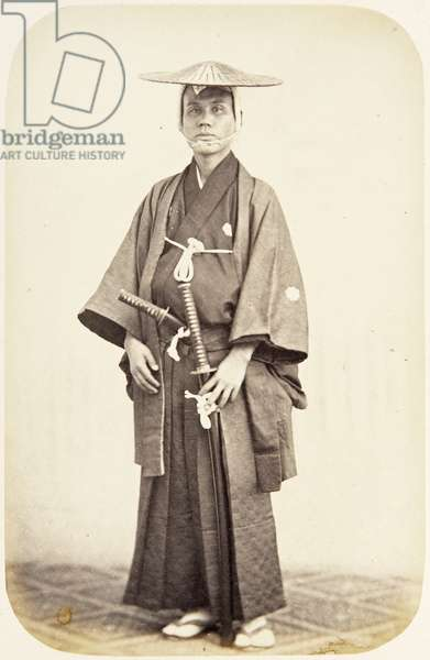 Portrait of a twenty–seven–year–old Japanese man named Takagi Tomesaburō, a samurai and member of the 1864 Ikeda mission to France, employed as a domestic attendant of one of the assistant envoys, 1864 (albumen print)