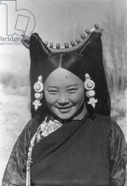 Aristocratic young woman close–up, Lhasa, Tibet, 1st January 1937 (gelatin silver print)