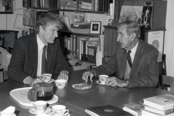 Wilfred Patrick Thesiger and Schuyler Jones in the Director's office of the Pitt Rivers Museum, Oxford, England, 1991 (b/w photo)
