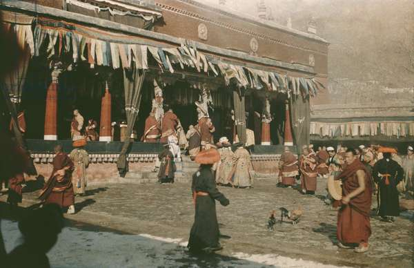 Tibetan New Year dance at the Nechung monastery, Lhasa Area, Tibet, 14th February 1937 (colour transparency)