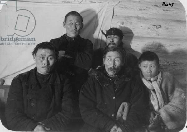 Four Tungus Men and a Youth in a Log Cabin, c.1912 (silver gelatin print)