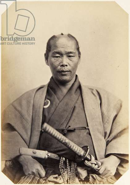 Portrait of a forty–two–year–old Japanese man named Takamatsu Hikosaburō, a samurai and officer (performing the function of assistant inspector/recorder (official spy)) on the 1862 Takenouchi mission to Europe, 1862 (albumen print)