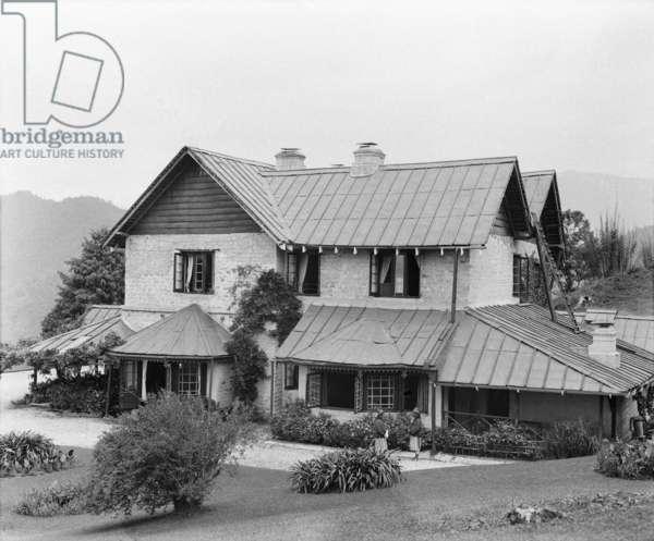 British Residency and gardens, Gangtok, 1921 (glass plate gelatin print)