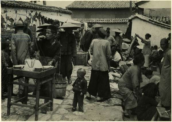 Refreshment sellers on the street, Kunming, China, 1937 (bromide print)