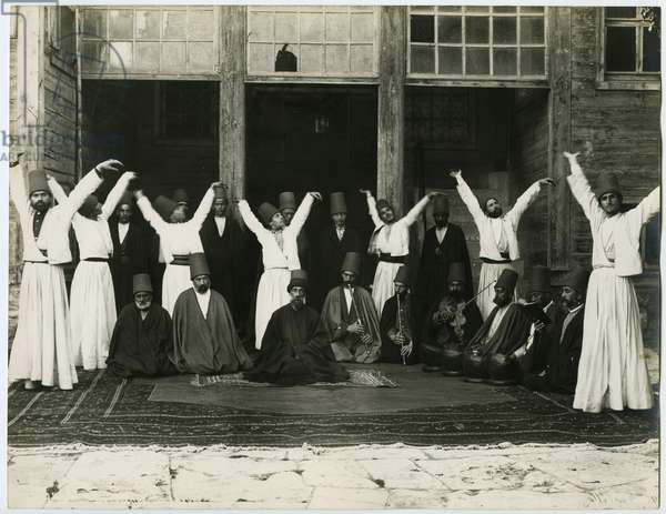 Posed group of dervish musicians and dancers, c.1890 (gelatin silver print)