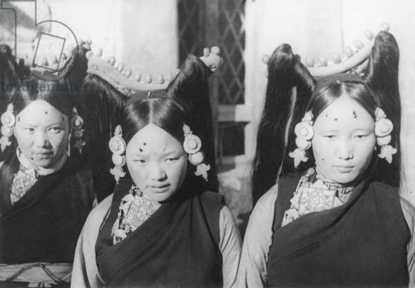 Three young, aristocratic Tibetan women, close-up, Lhasa, Tibet, 3rd October 1936 (gelatin silver print)