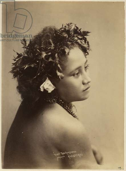 Young Samoan woman wearing necklace and leaf chaplet, c.1890 (albumen print)