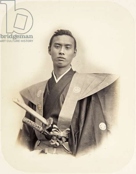 Portrait of a Japanese man named Ikeda Nagaaki (Chōhatsu), also known as Ikeda Chikugo no kami, a samurai and chief envoy of the 1864 mission to France, 1864 (albumen print)