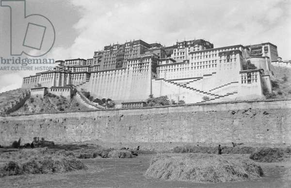 The south face of the Potala Palace, Lhasa, Tibet, September-Demember 1936 (b/w photo)