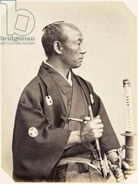 Portrait of a forty–year–old Japanese man named Ōzeki Hannosuke, a samurai and member of the 1864 Ikeda mission to France, employed as a personal attendant of the chief envoy, 1864 (albumen print)