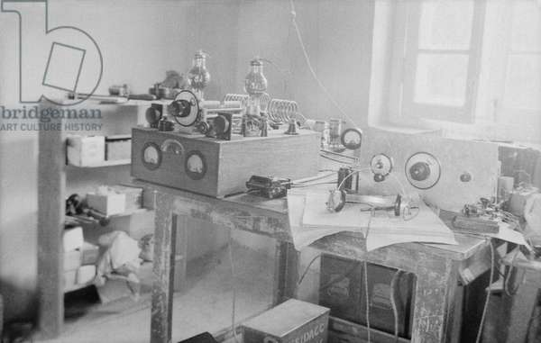 The wireless station of the British Mission in Gyantse, Tibet, September-December 1936 (b/w photo)