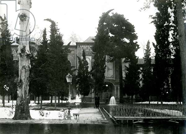The Shah's Palace  in Tehran, with water garden in the foreground, Iran, c.1900 (gelatin silver print)