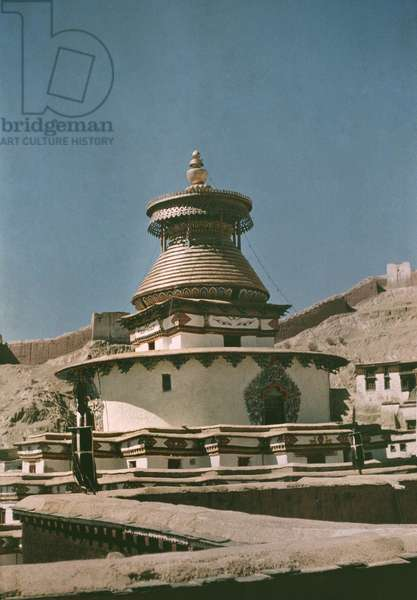 The Great chorten at Gyantse, known as the Kumbum, Tibet, 1936 (colour transparency)
