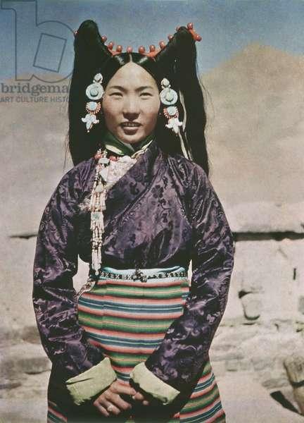 The wife of the Gyantse Dzongpon, Tibet, 1936-37 (colour transparency)