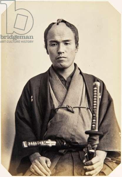 Portrait of a Japanese man named Hara Kakuzō, a samurai and member of the 1862 Takenouchi mission to Europe, employed as an attendant, 1862 (albumen print)