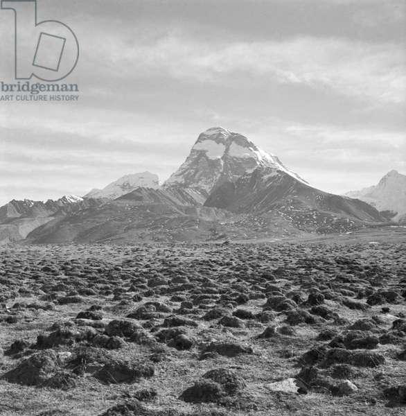 Mount Chomolhari with patches of snow, Chumbi Valley, Tibet (b/w photo)