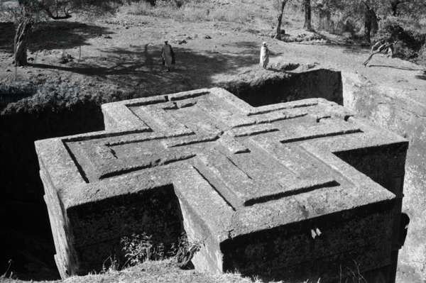 View of the monolithic rock-hewn church of Giorgis at Lalibela, Ethiopia, 1959 (b/w photo)