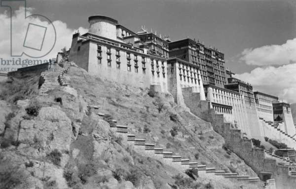 The Potala and steps leading up to the southern face, Lhasa, Tibet, September-December 1936 (b/w photo)