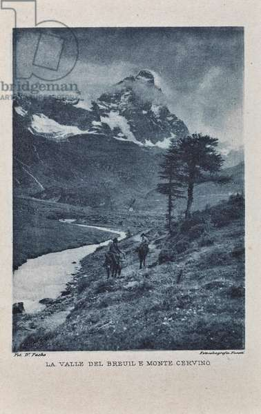 View of the Breuil valley and Mount Matterhorn in Valtournenche, Valtournenche, 1900-1910