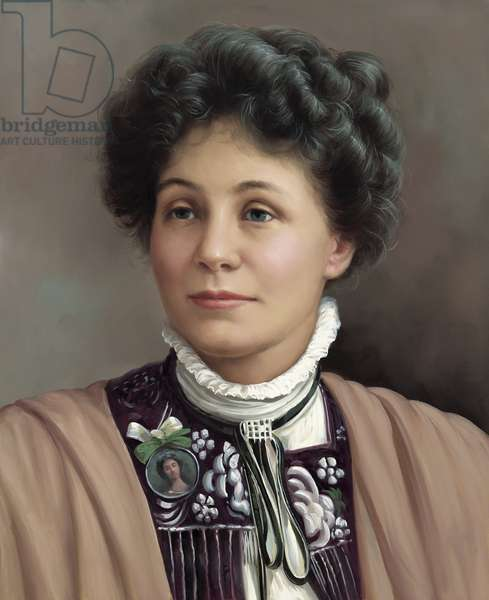 Portrait of Emmeline Pankhurst (1857-1928) (acrylic on canvas)