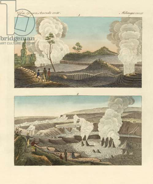 Volcanoes on the Island of Hawaii (coloured engraving)
