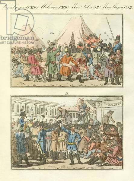 Russians ethnic festivities (coloured engraving)