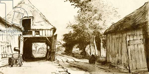 Village road with coach house