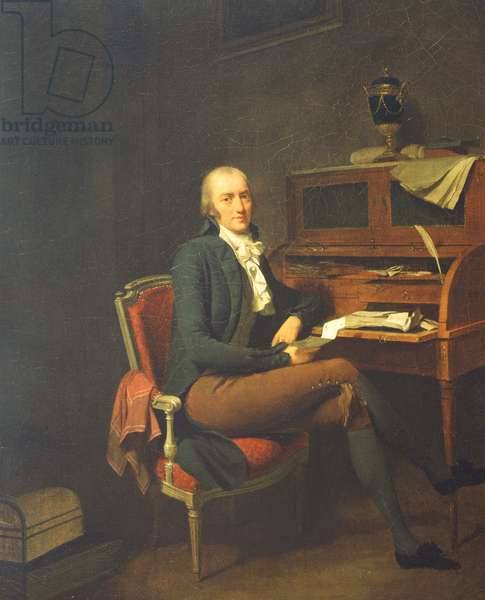 Portrait of a Seated man at a desk (oil on canvas)