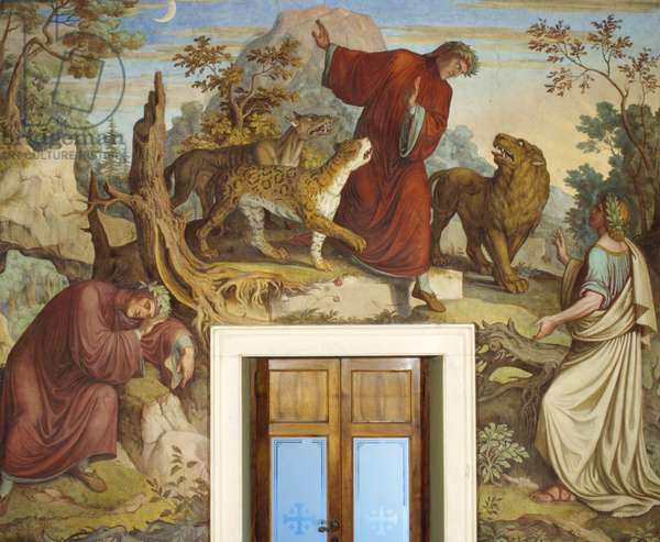 Dante sleeping, attacked by wild beasts, and encountering Virgil (fresco)