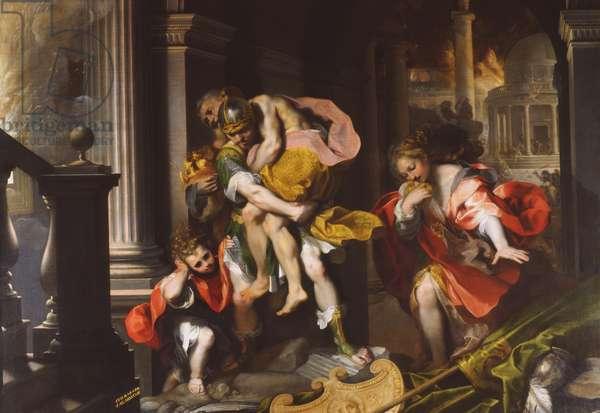 Aeneas' Flight from Troy, 1598 (oil on canvas)