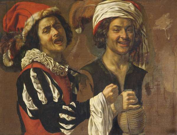 A Singer and a Drinker (oil on canvas)