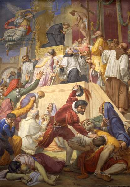 The miracle of Saint Nicholas of Tolentino during the plague of Cordova, 1856-69