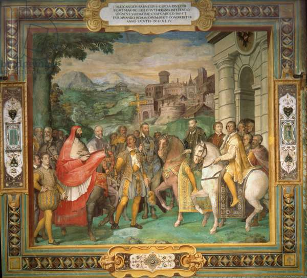 The meeting of Holy Roman Emperor Charles V and Alessandro Farnese in 1544 (fresco)
