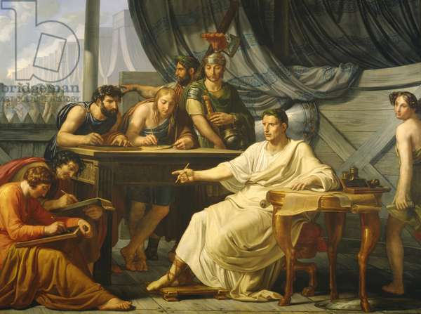 Caesar Dictating his Commentaries (oil on canvas)