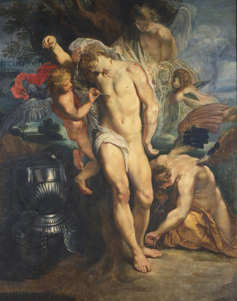 Saint Sebastian Tended by Angels, 1601-02 (oil on canvas)
