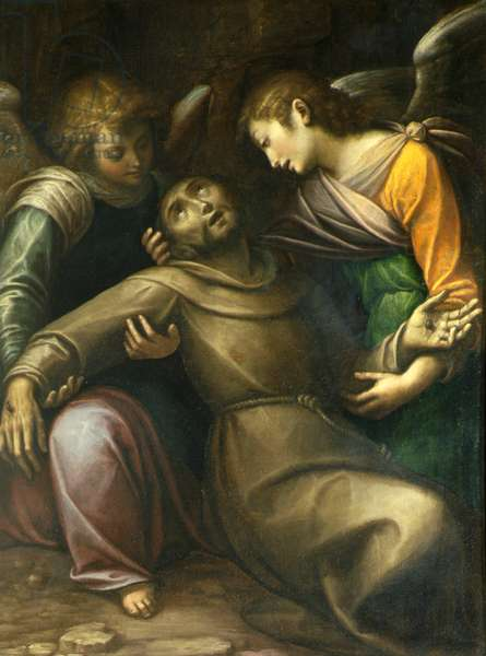 Saint Francis comforted by two Angels