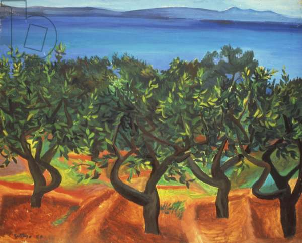 Citrus grove on the Strait of Messina, 1950 (oil on canvas)