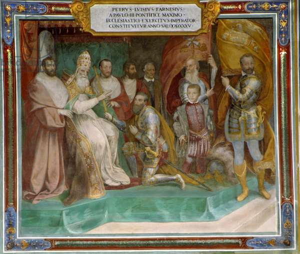 Pier Luigi Farnese appointed Commander of the Pontifical Army by his father Pope Paul III (fresco)