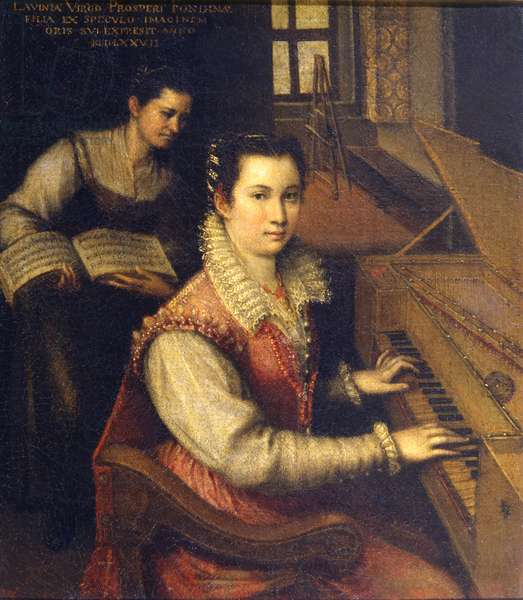 Self Portrait at the Spinet, 1578 (oil on canvas)