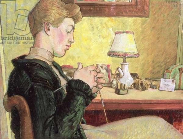 Bridget knitting, 1956 (oil on board)