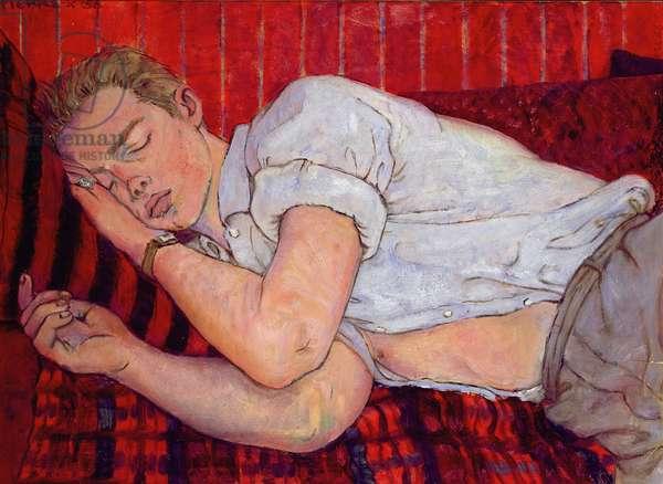 Tony Howard sleeping, London, 1956 (oil on board)