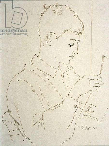 John Paul, Reading, 1951 (pen & ink)