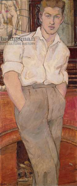 Ray the Butcher, standing, 1957 (oil on board)