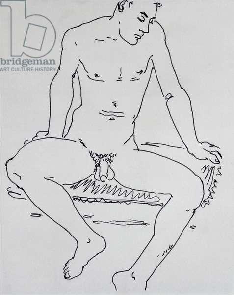 Male Nude, 1960 (pen & ink)