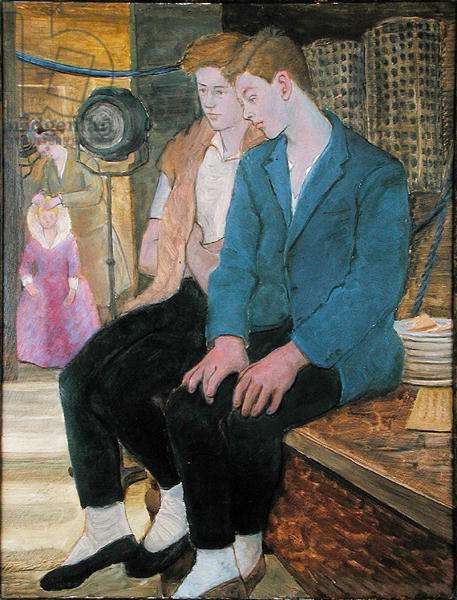 Robin and mate, backstage at rehearsal for a ballet, Torquay, 1954 (oil on board)