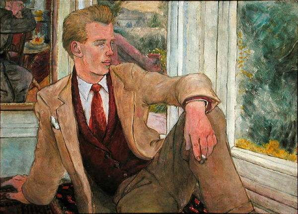 Tony Howard in waistcoat, Torquay, 1956 (oil on board)