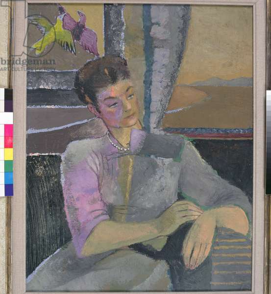 Eva with tapestry, 1947 (oil on board)