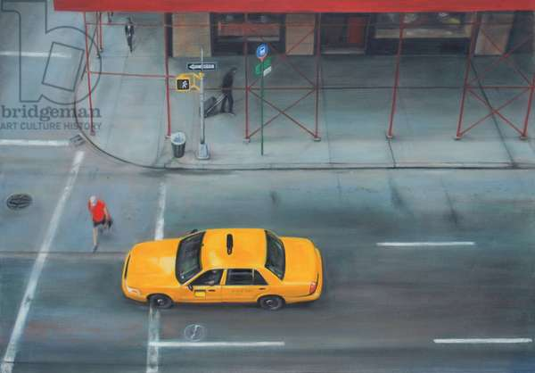 5th Avenue Taxi, 7am (oil on calico)